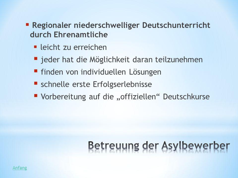 Regionaler niederschwelliger Deutschunterricht durch Ehrenamtliche leicht zu erreichen jeder hat die Möglichkeit daran teilzunehmen finden von individ