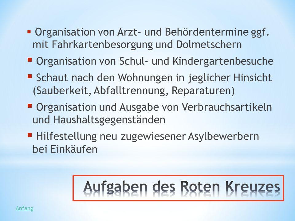 Organisation von Arzt- und Behördentermine ggf. mit Fahrkartenbesorgung und Dolmetschern Organisation von Schul- und Kindergartenbesuche Schaut nach d