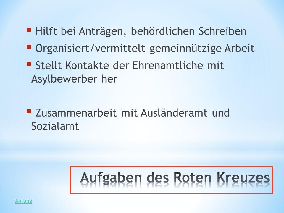 Hilft bei Anträgen, behördlichen Schreiben Organisiert/vermittelt gemeinnützige Arbeit Stellt Kontakte der Ehrenamtliche mit Asylbewerber her Zusammen