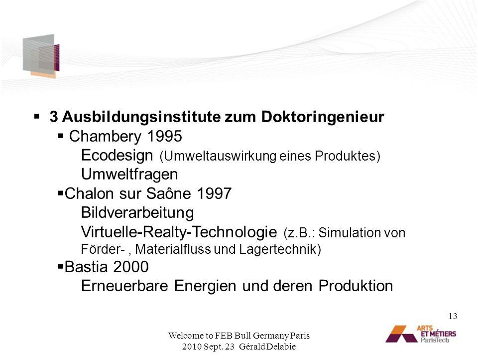 3 Ausbildungsinstitute zum Doktoringenieur Chambery 1995 Ecodesign (Umweltauswirkung eines Produktes) Umweltfragen Chalon sur Saône 1997 Bildverarbeit
