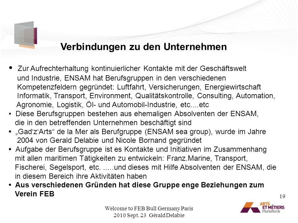 Verbindungen zu den Unternehmen Zur Aufrechterhaltung kontinuierlicher Kontakte mit der Geschäftswelt und Industrie, ENSAM hat Berufsgruppen in den ve
