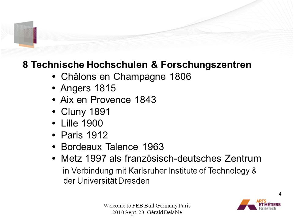 8 Technische Hochschulen & Forschungszentren Châlons en Champagne 1806 Angers 1815 Aix en Provence 1843 Cluny 1891 Lille 1900 Paris 1912 Bordeaux Tale