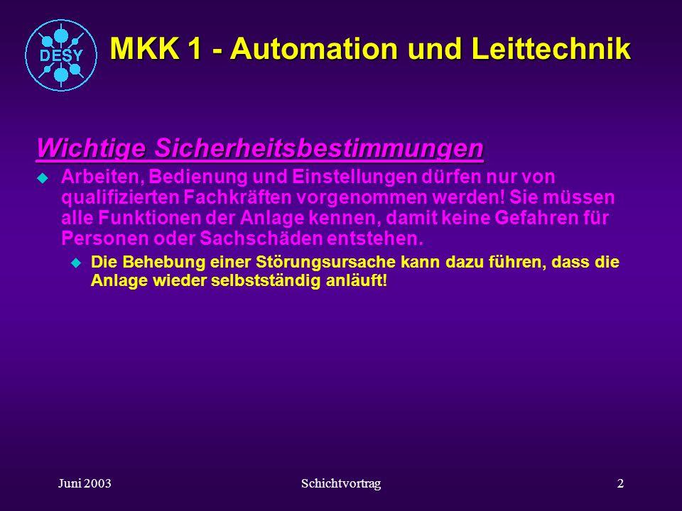 Juni 2003Schichtvortrag2 MKK 1 - Automation und Leittechnik Wichtige Sicherheitsbestimmungen uAuArbeiten, Bedienung und Einstellungen dürfen nur von qualifizierten Fachkräften vorgenommen werden.
