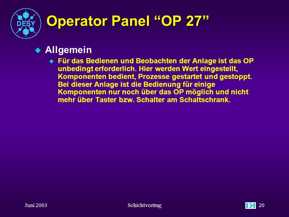 Juni 2003Schichtvortrag19 Operator Panel OP 27 u !! ACHTUNG !! u Alle Funktionstasten und Eingabefelder die auf das Steuerungsprogramm wirken sind Pas