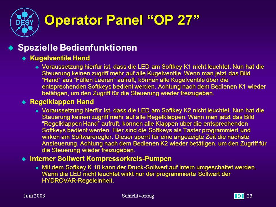 Juni 2003Schichtvortrag22 Operator Panel OP 27 u Navigation Kühlturm Kühlturm- pumpen 24 Std. Kurve Kühlturmkr. 2 Std. Kurve Kühlturmkr. Wärme- tausch