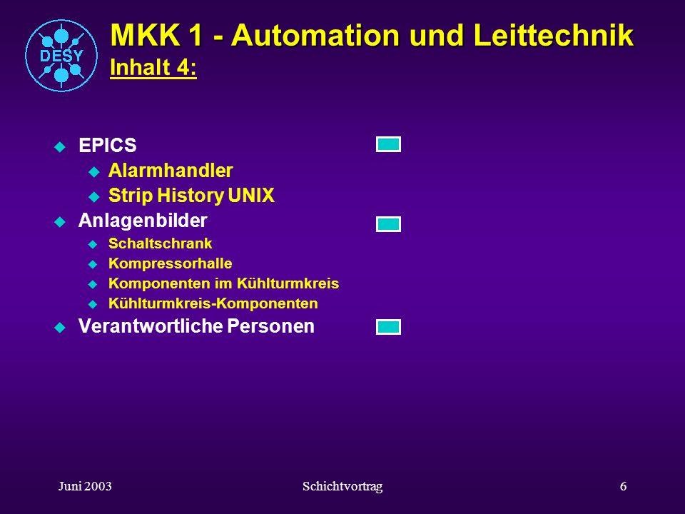 Juni 2003Schichtvortrag5 MKK 1 - Automation und Leittechnik MKK 1 - Automation und Leittechnik Inhalt 3: u Bussysteme u Profibus u MPI-Bus u RS 485 -