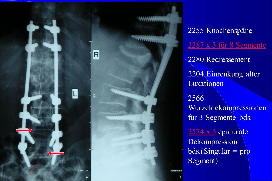 2255 Knochenspäne 2287 x 3 für 8 Segmente 2280 Redressement 2204 Einrenkung alter Luxationen 2566 Wurzeldekompressionen für 3 Segmente bds.