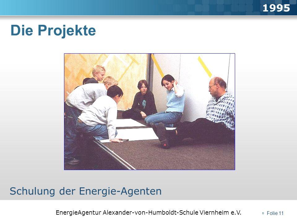 EnergieAgentur Alexander-von-Humboldt-Schule Viernheim e.V. Folie 11 Die Projekte 1995 Schulung der Energie-Agenten