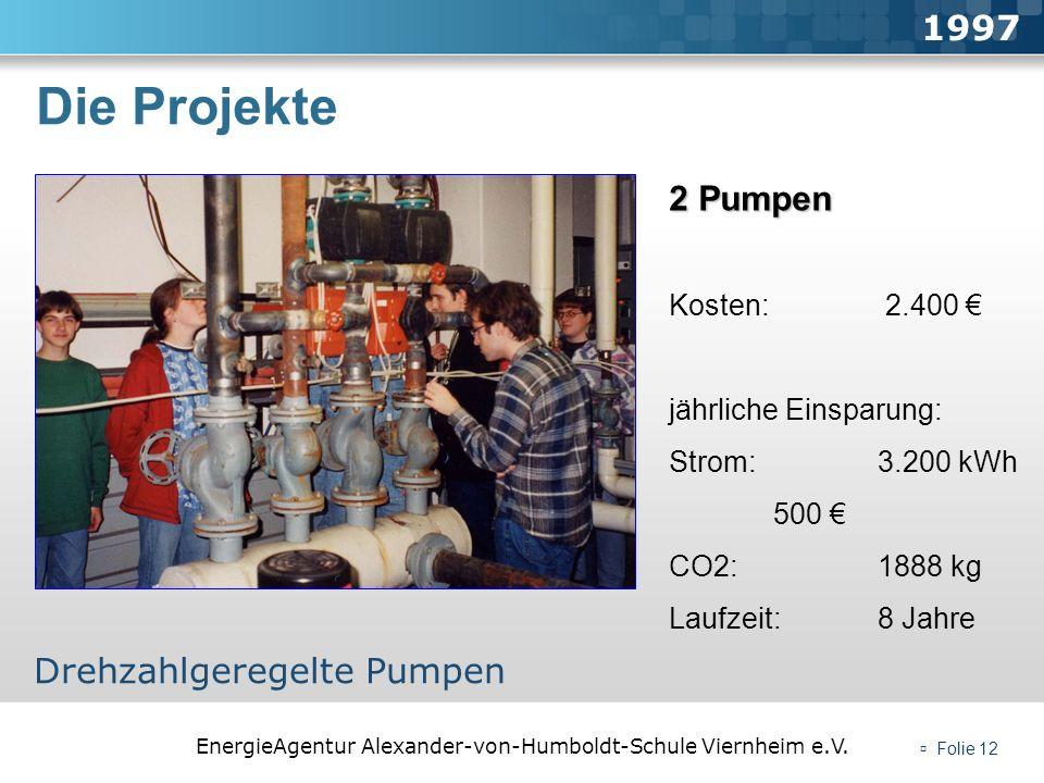 EnergieAgentur Alexander-von-Humboldt-Schule Viernheim e.V. Folie 12 Die Projekte 1997 Drehzahlgeregelte Pumpen 2 Pumpen Kosten: 2.400 jährliche Einsp