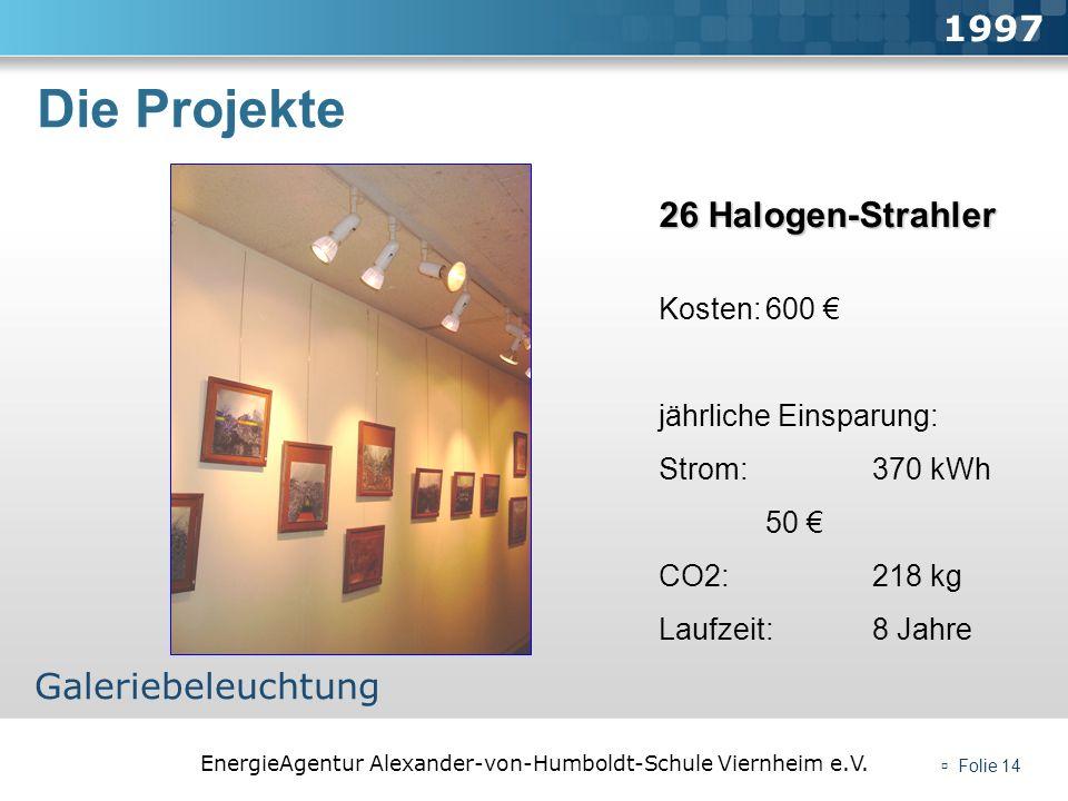 EnergieAgentur Alexander-von-Humboldt-Schule Viernheim e.V. Folie 14 Die Projekte 1997 Galeriebeleuchtung 26 Halogen-Strahler Kosten:600 jährliche Ein