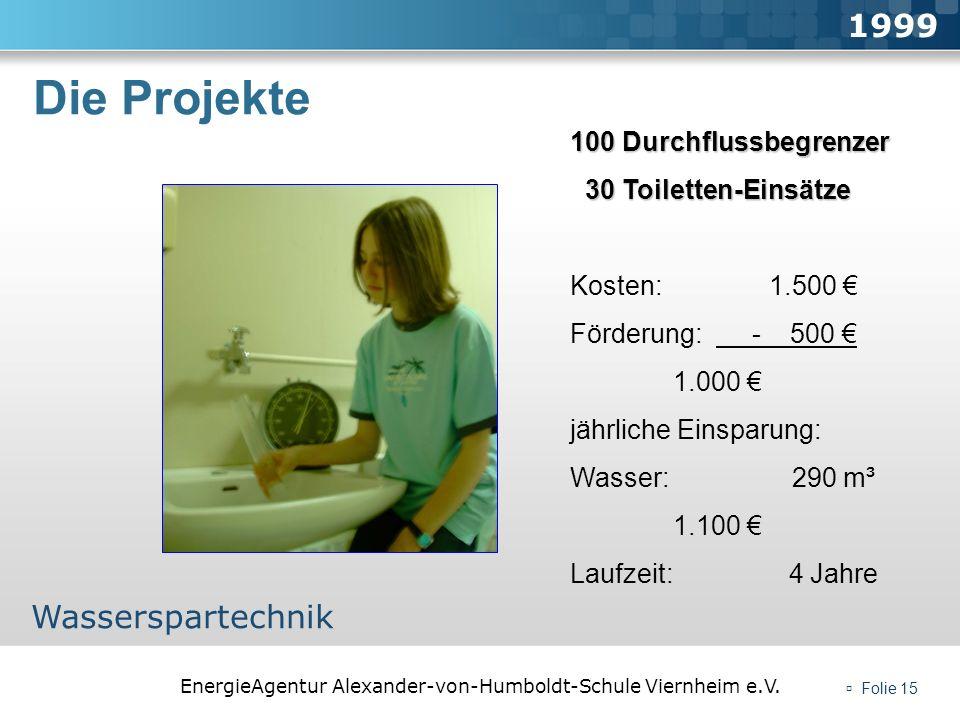 EnergieAgentur Alexander-von-Humboldt-Schule Viernheim e.V. Folie 15 Die Projekte 1999 Wasserspartechnik 100 Durchflussbegrenzer 30 Toiletten-Einsätze