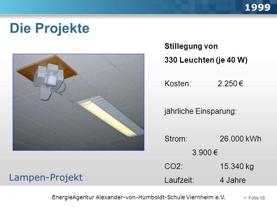 EnergieAgentur Alexander-von-Humboldt-Schule Viernheim e.V. Folie 16 Die Projekte 1999 Lampen-Projekt Stillegung von 330 Leuchten (je 40 W) Kosten: 2.