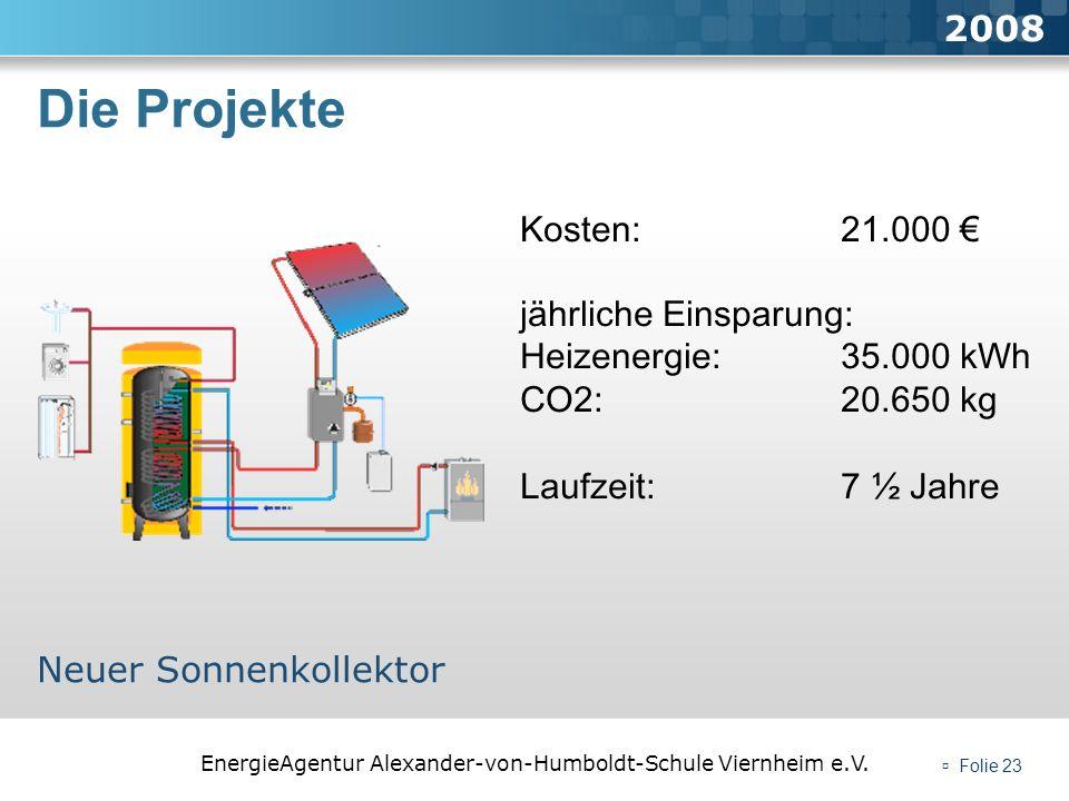 EnergieAgentur Alexander-von-Humboldt-Schule Viernheim e.V. Folie 23 Die Projekte 2008 Neuer Sonnenkollektor Kosten: 21.000 jährliche Einsparung: Heiz