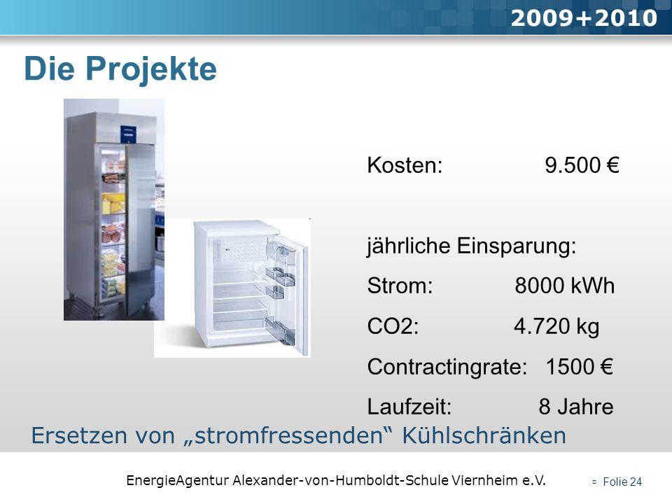 EnergieAgentur Alexander-von-Humboldt-Schule Viernheim e.V. Folie 24 Die Projekte 2009+2010 Ersetzen von stromfressenden Kühlschränken Kosten: 9.500 j
