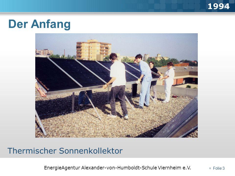 EnergieAgentur Alexander-von-Humboldt-Schule Viernheim e.V. Folie 3 Der Anfang 1994 Thermischer Sonnenkollektor