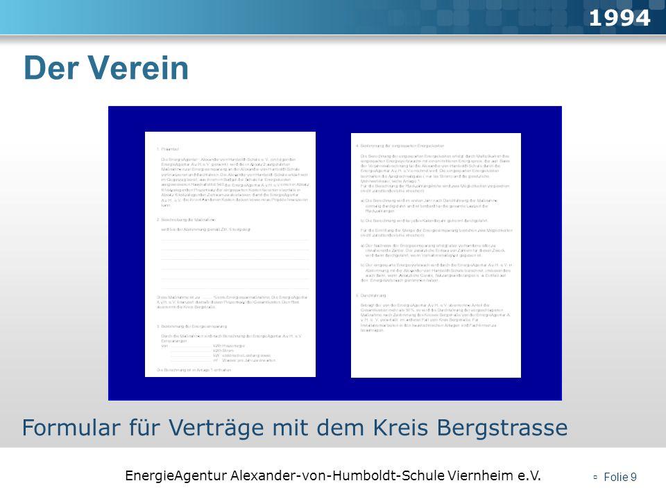 EnergieAgentur Alexander-von-Humboldt-Schule Viernheim e.V. Folie 9 Der Verein 1994 Formular für Verträge mit dem Kreis Bergstrasse