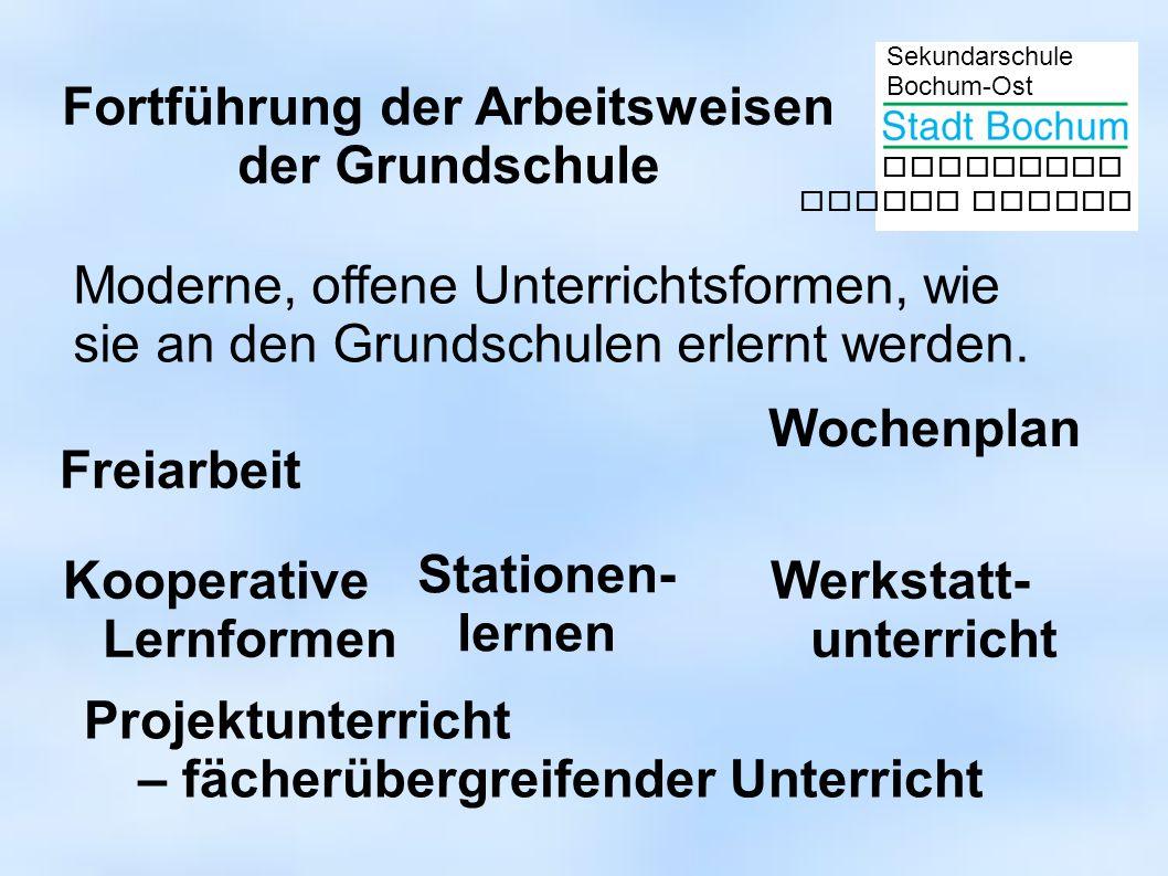 Sekundarschule Bochum-Ost gemeinsam besser lernen Fortführung der Arbeitsweisen der Grundschule Freiarbeit Stationen- lernen Wochenplan Werkstatt- unt
