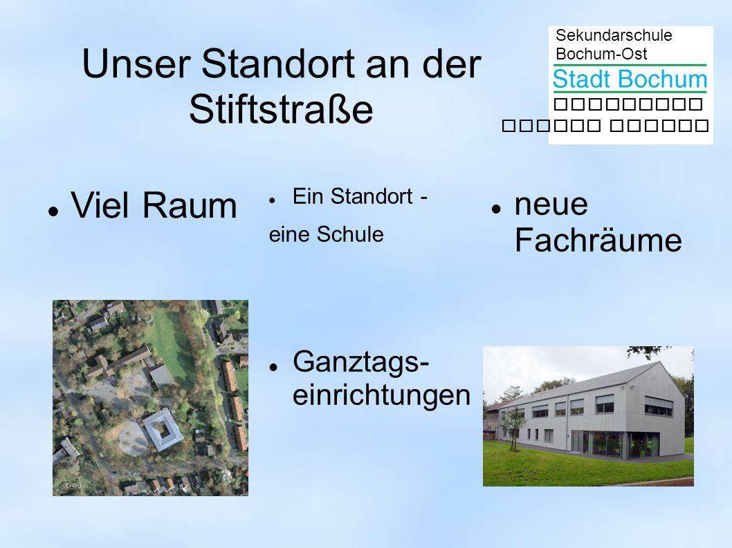 Sekundarschule Bochum-Ost gemeinsam besser lernen Unser Standort an der Stiftstraße Viel Raum Ein Standort - eine Schule neue Fachräume Ganztags- einrichtungen