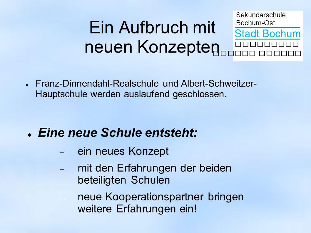 Sekundarschule Bochum-Ost gemeinsam besser lernen Ein Aufbruch mit neuen Konzepten Franz-Dinnendahl-Realschule und Albert-Schweitzer- Hauptschule werden auslaufend geschlossen.
