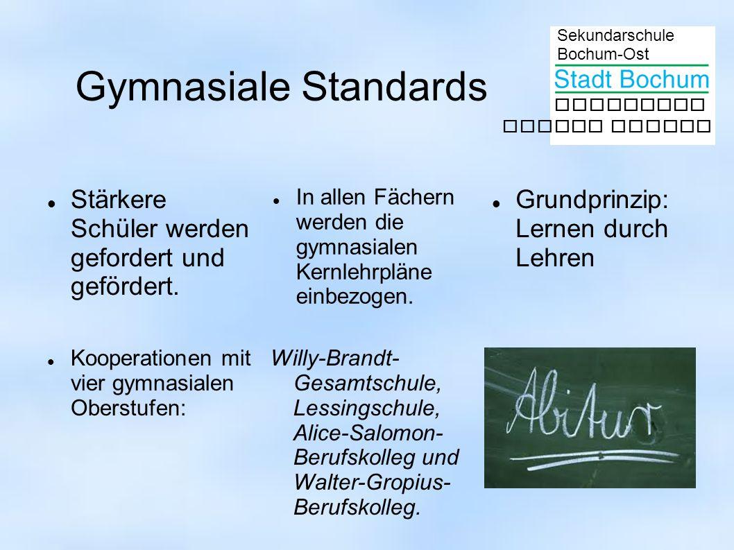 Sekundarschule Bochum-Ost gemeinsam besser lernen Gymnasiale Standards Stärkere Schüler werden gefordert und gefördert. In allen Fächern werden die gy