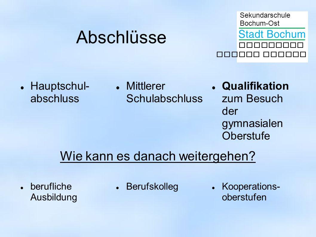 Sekundarschule Bochum-Ost gemeinsam besser lernen Abschlüsse Hauptschul- abschluss Mittlerer Schulabschluss Qualifikation zum Besuch der gymnasialen O