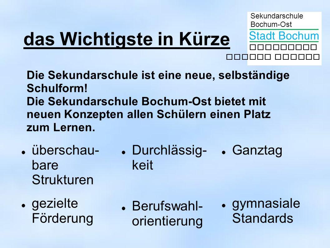 Sekundarschule Bochum-Ost gemeinsam besser lernen das Wichtigste in Kürze überschau- bare Strukturen Durchlässig- keit Ganztag gymnasiale Standards Berufswahl- orientierung gezielte Förderung Die Sekundarschule ist eine neue, selbständige Schulform.