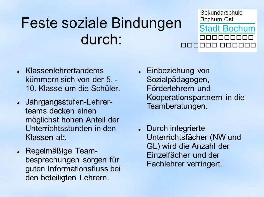 Sekundarschule Bochum-Ost gemeinsam besser lernen Feste soziale Bindungen durch: Klassenlehrertandems kümmern sich von der 5. - 10. Klasse um die Schü