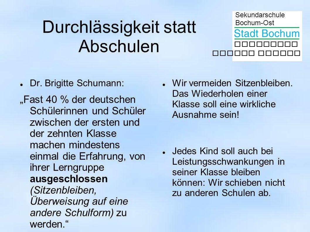 Sekundarschule Bochum-Ost gemeinsam besser lernen Dr. Brigitte Schumann: Fast 40 % der deutschen Schülerinnen und Schüler zwischen der ersten und der