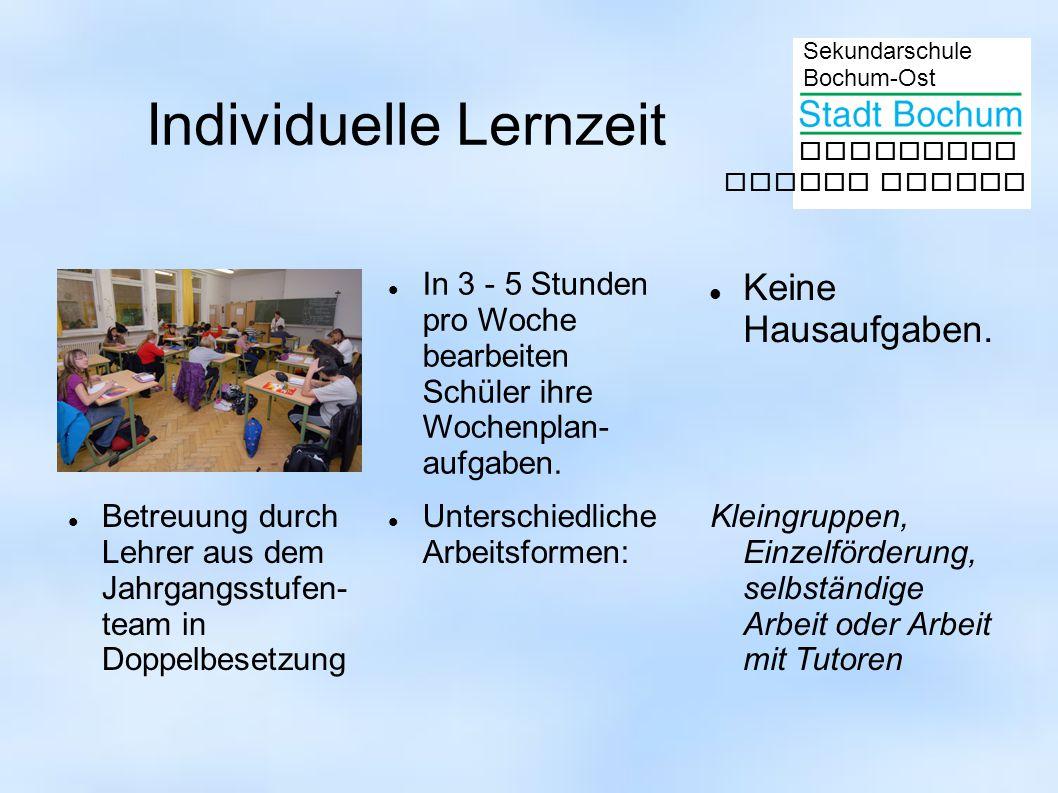 Sekundarschule Bochum-Ost gemeinsam besser lernen Individuelle Lernzeit In 3 - 5 Stunden pro Woche bearbeiten Schüler ihre Wochenplan- aufgaben.
