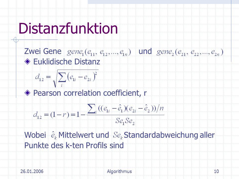 26.01.2006Algorithmus10 Distanzfunktion Pearson correlation coefficient, r Wobei Mittelwert und Standardabweichung aller Punkte des k-ten Profils sind