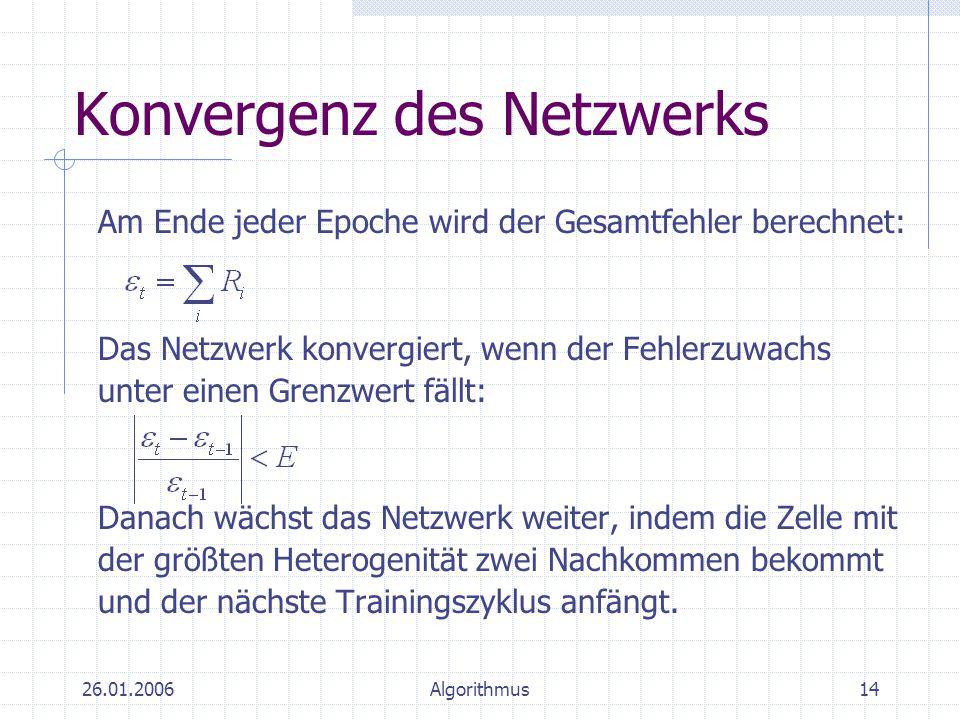 26.01.2006Algorithmus14 Konvergenz des Netzwerks Am Ende jeder Epoche wird der Gesamtfehler berechnet: Das Netzwerk konvergiert, wenn der Fehlerzuwach