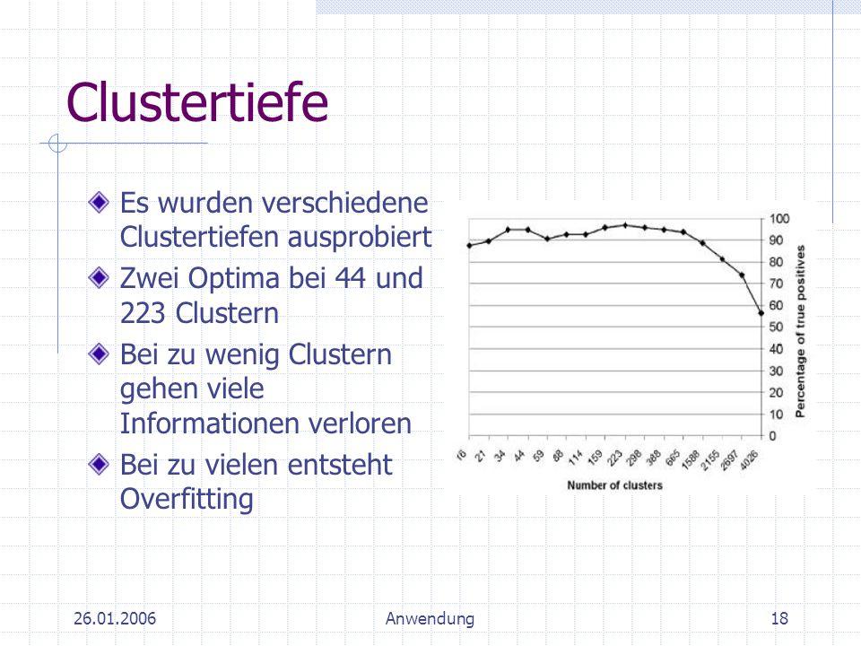 26.01.2006Anwendung18 Clustertiefe Es wurden verschiedene Clustertiefen ausprobiert Zwei Optima bei 44 und 223 Clustern Bei zu wenig Clustern gehen vi