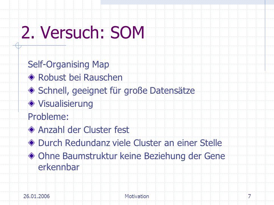 26.01.2006Motivation7 2. Versuch: SOM Self-Organising Map Robust bei Rauschen Schnell, geeignet für große Datensätze Visualisierung Probleme: Anzahl d