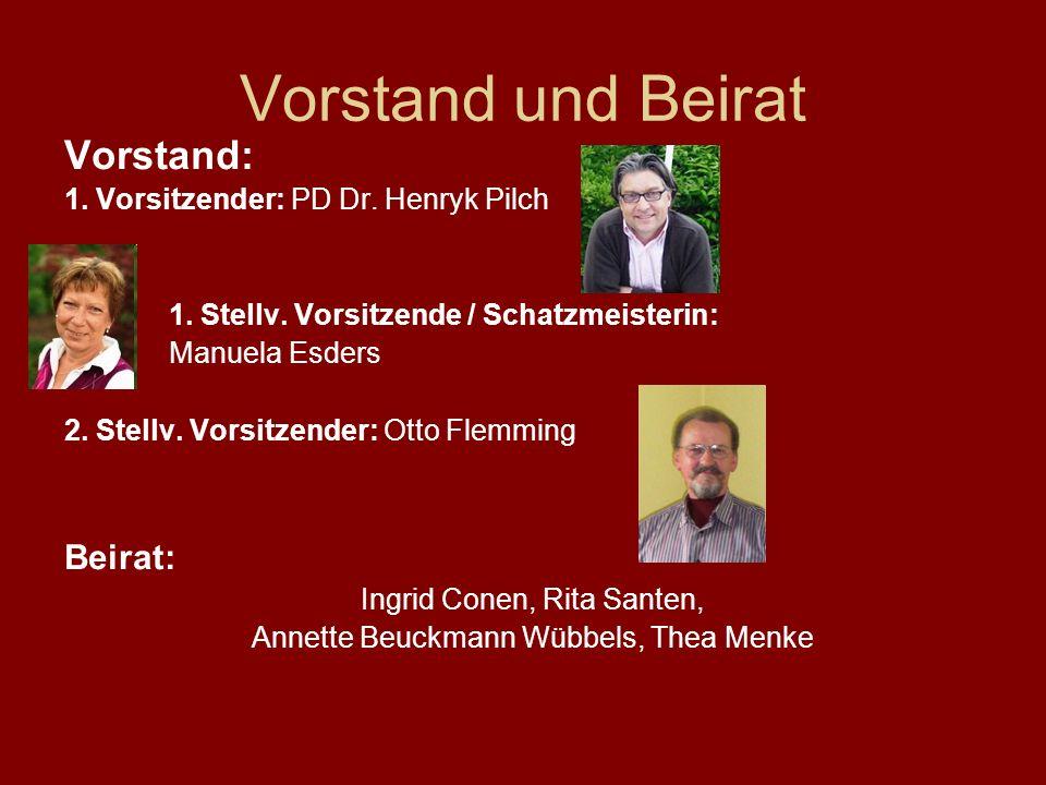 Vorstand und Beirat Vorstand: 1. Vorsitzender: PD Dr. Henryk Pilch 1. Stellv. Vorsitzende / Schatzmeisterin: Manuela Esders 2. Stellv. Vorsitzender: O