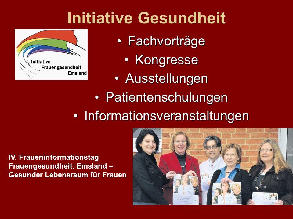 Initiative Gesundheit Fachvorträge Kongresse Ausstellungen Patientenschulungen Informationsveranstaltungen IV.