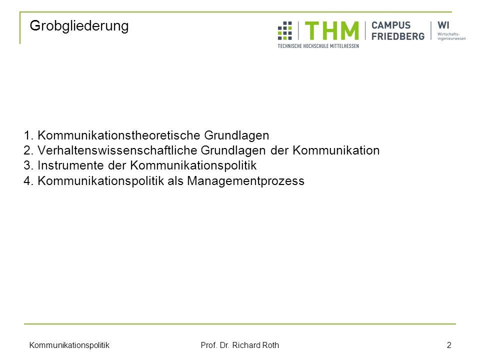 Kommunikationspolitik Prof.Dr. Richard Roth 2 1. Kommunikationstheoretische Grundlagen 2.