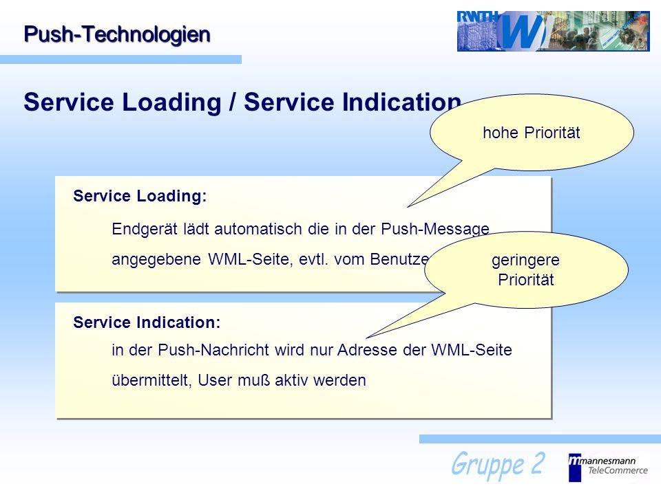 Push-Technologien Service Loading / Service Indication Service Loading: Endgerät lädt automatisch die in der Push-Message angegebene WML-Seite, evtl.