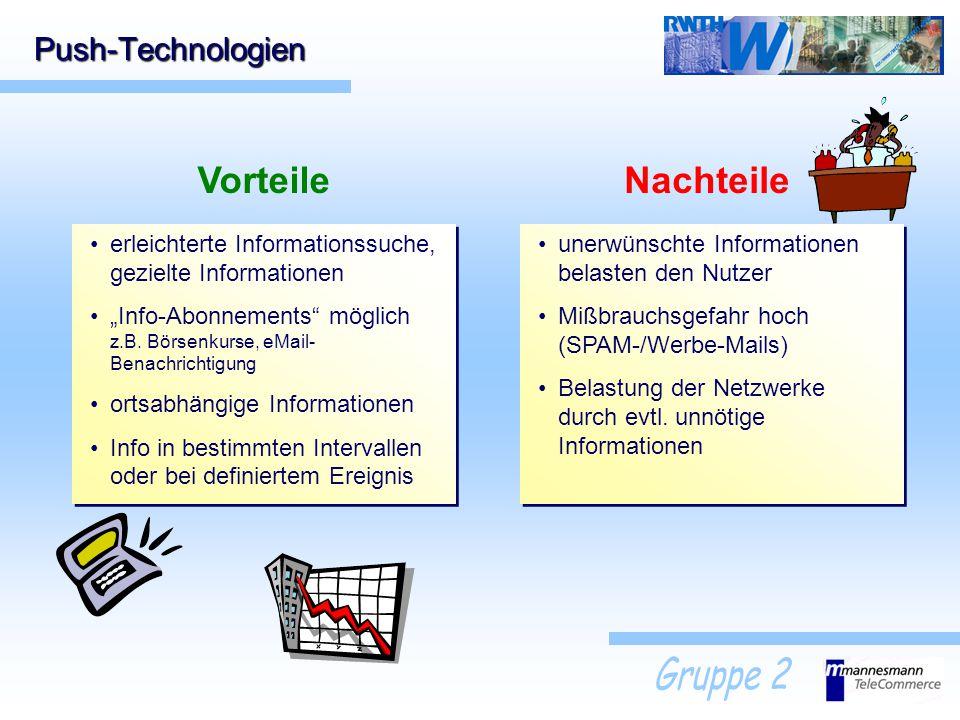 Push-Technologien erleichterte Informationssuche, gezielte Informationen Info-Abonnements möglich z.B. Börsenkurse, eMail- Benachrichtigung ortsabhäng