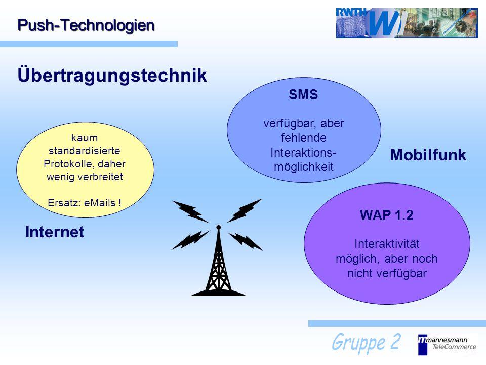 Push-Technologien Übertragungstechnik kaum standardisierte Protokolle, daher wenig verbreitet Ersatz: eMails ! Internet Mobilfunk SMS verfügbar, aber