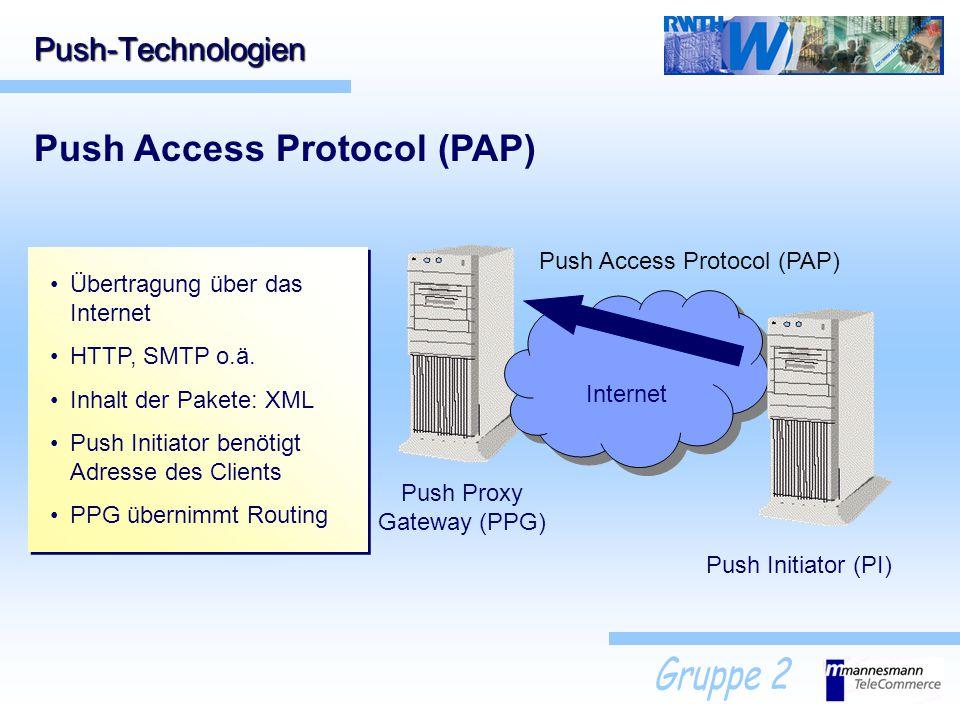 Internet Push-Technologien Push Access Protocol (PAP) Push Initiator (PI) Push Proxy Gateway (PPG) Push Access Protocol (PAP) Übertragung über das Int