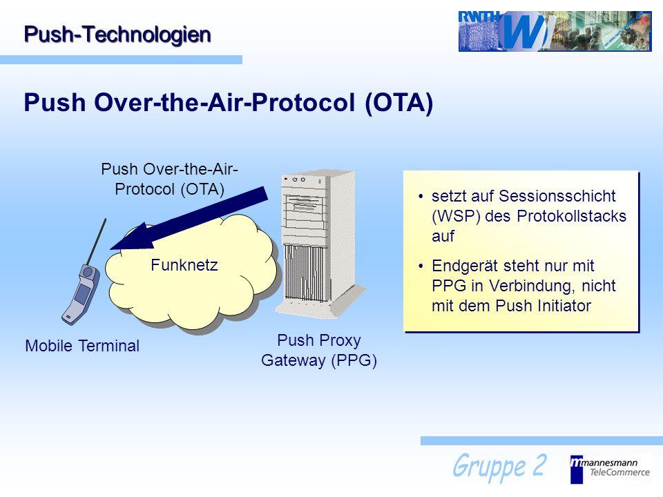 Funknetz Push-Technologien Push Over-the-Air-Protocol (OTA) Push Proxy Gateway (PPG) Mobile Terminal Push Over-the-Air- Protocol (OTA) setzt auf Sessi