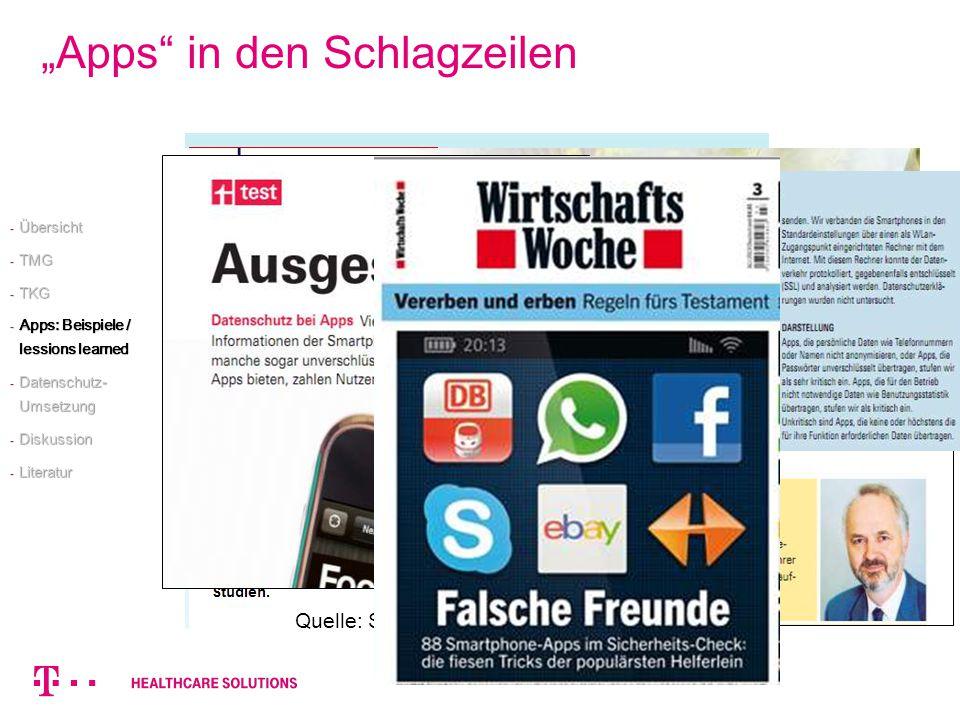 Apps in den Schlagzeilen Quelle: Stiftung Warentest, 6/2012 - Übersicht - TMG - TKG - Apps: Beispiele / lessions learned - Datenschutz- Umsetzung - Di