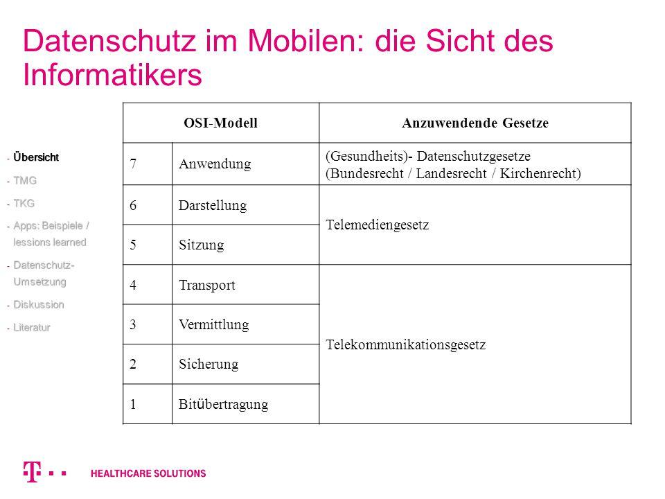 Datenschutz im Mobilen: die Sicht des Informatikers OSI-ModellAnzuwendende Gesetze 7Anwendung (Gesundheits)- Datenschutzgesetze (Bundesrecht / Landesr