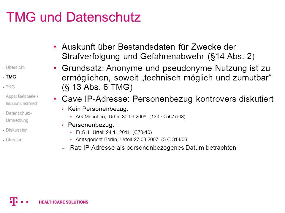 TMG und Datenschutz Auskunft über Bestandsdaten für Zwecke der Strafverfolgung und Gefahrenabwehr (§14 Abs. 2) Grundsatz: Anonyme und pseudonyme Nutzu