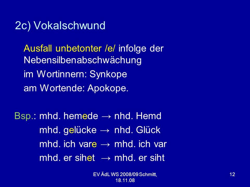 EV ÄdL WS 2008/09 Schmitt, 18.11.08 12 2c) Vokalschwund Ausfall unbetonter /e/ infolge der Nebensilbenabschwächung im Wortinnern: Synkope am Wortende: