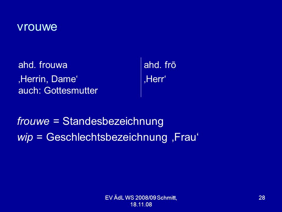 vrouwe frouwe = Standesbezeichnung wip = Geschlechtsbezeichnung Frau EV ÄdL WS 2008/09 Schmitt, 18.11.08 28 ahd. frouwaahd. frō Herrin, Dame auch: Got