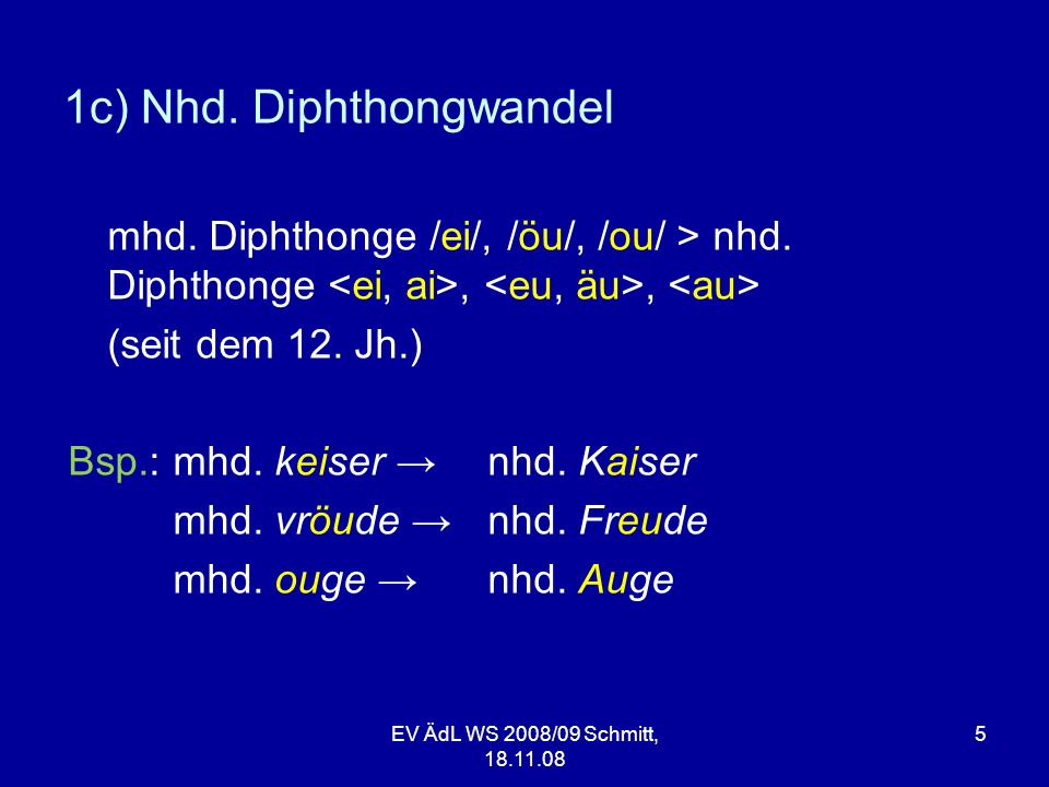 EV ÄdL WS 2008/09 Schmitt, 18.11.08 5 1c) Nhd. Diphthongwandel mhd. Diphthonge /ei/, /öu/, /ou/ > nhd. Diphthonge,, (seit dem 12. Jh.) Bsp.: mhd. keis
