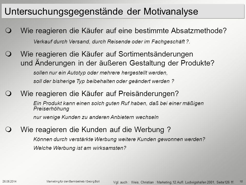 26.05.2014Marketing für den Bankbetrieb / Georg Boll18 Untersuchungsgegenstände der Motivanalyse Wie reagieren die Käufer auf eine bestimmte Absatzmet