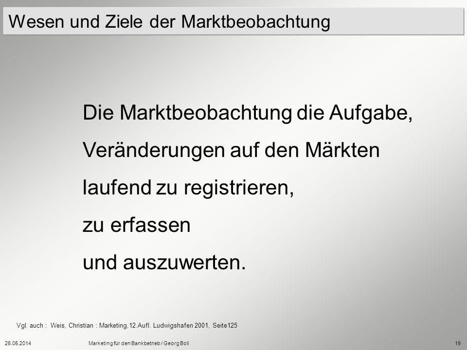 26.05.2014Marketing für den Bankbetrieb / Georg Boll19 Wesen und Ziele der Marktbeobachtung Die Marktbeobachtung die Aufgabe, Veränderungen auf den Mä