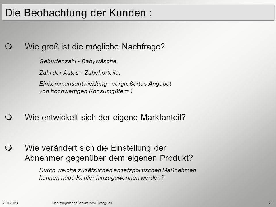 26.05.2014Marketing für den Bankbetrieb / Georg Boll20 Die Beobachtung der Kunden : Wie groß ist die mögliche Nachfrage? Geburtenzahl - Babywäsche, Za